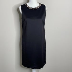 Cynthia Rowley Rhinestone Neckline Black Dress 6